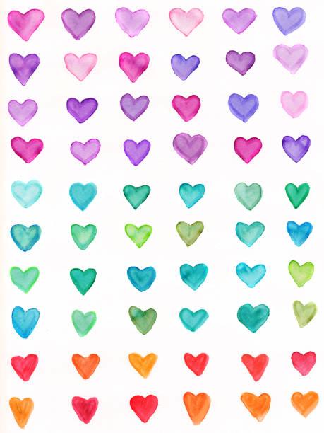 Hand Gemalte Herz mit Regenbogen Farben Spektrum – Foto