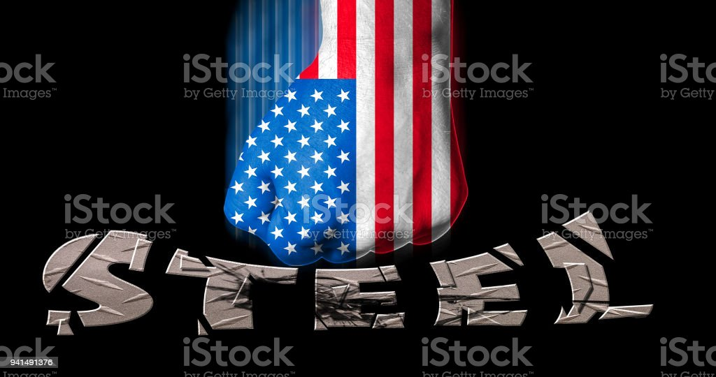 Hand painted in the American flag clenched in a fist smashing the word steel/USA steel tariff dispute concept stock photo