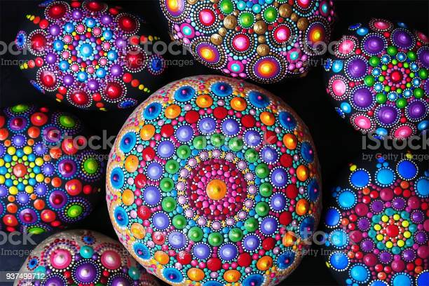 Hand Painted Mandala Stones Stock Photo - Download Image Now
