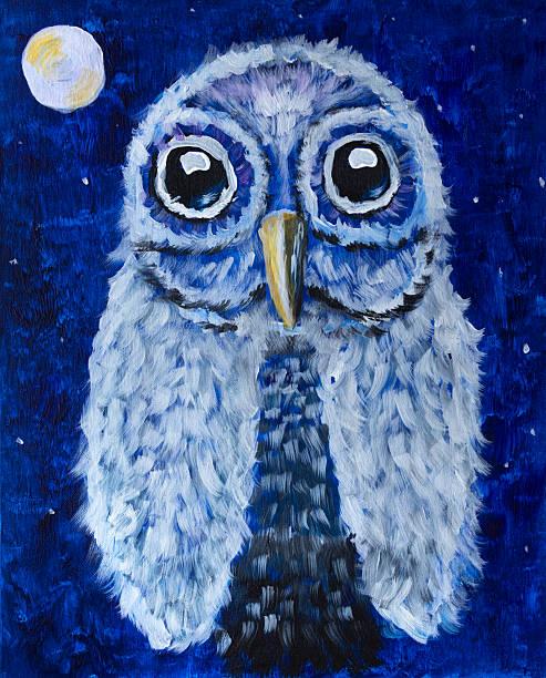 handbemalte nachtschwärmer mit hellen full moon and stars - eule zeichnung stock-fotos und bilder