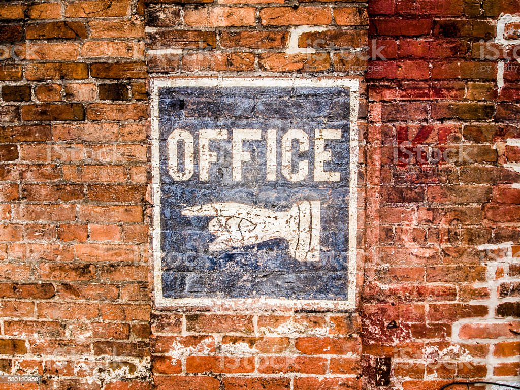 Hand painted office sign stock photo