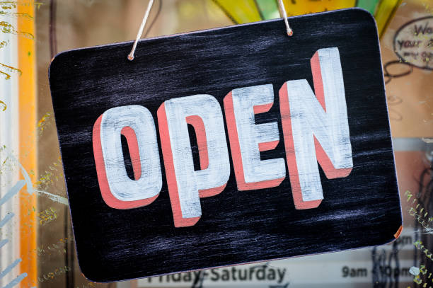 hand painted open sign - open sign stock pictures, royalty-free photos & images