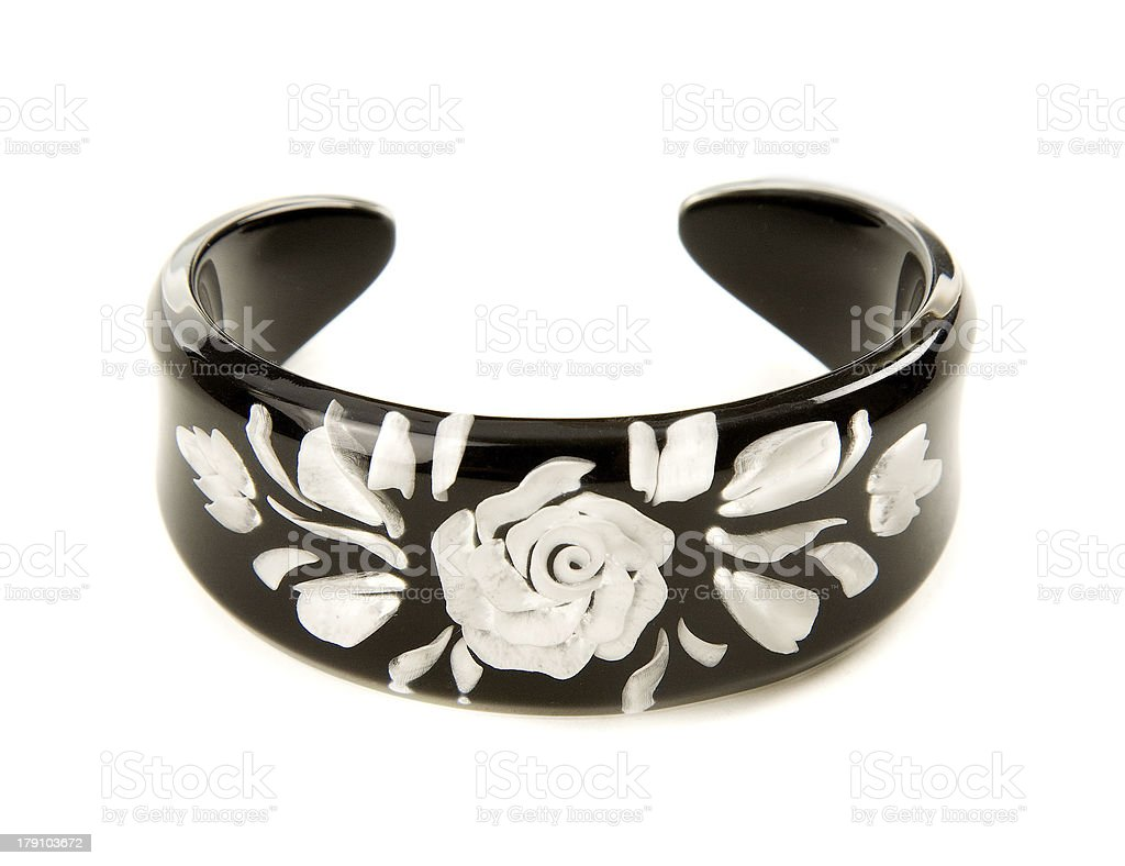 Hand painted pearly white rose black bangle stock photo