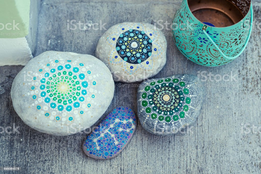 hand painted stones stock photo