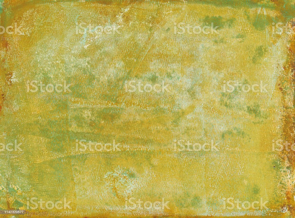 Hand Painted Textured Background In Yellow Mustard Color
