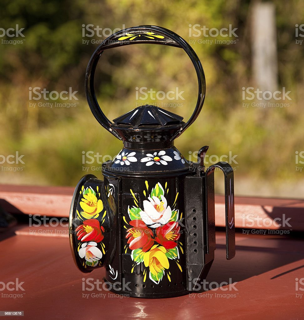 Hand painted traditional decorated oil lamp stock photo