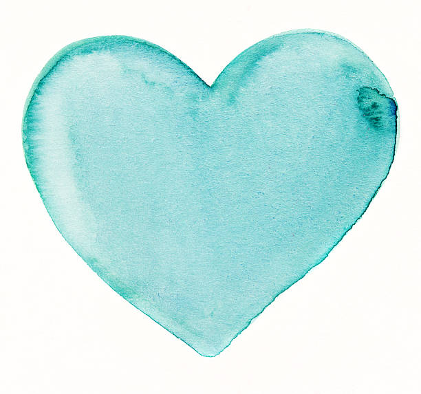 Hand painted turquoise blue heart on white background