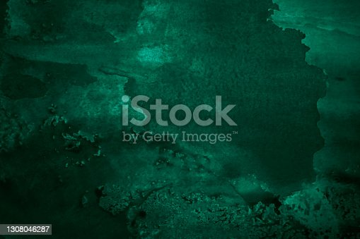 Hand painted watercolor background. Black blue green modern abstract art background. Dark turquoise aquarelle background with copy space for design. Web banner.
