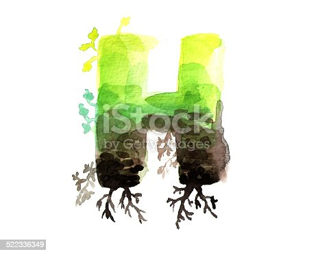 istock Hand painted watercolor letter H 522336349