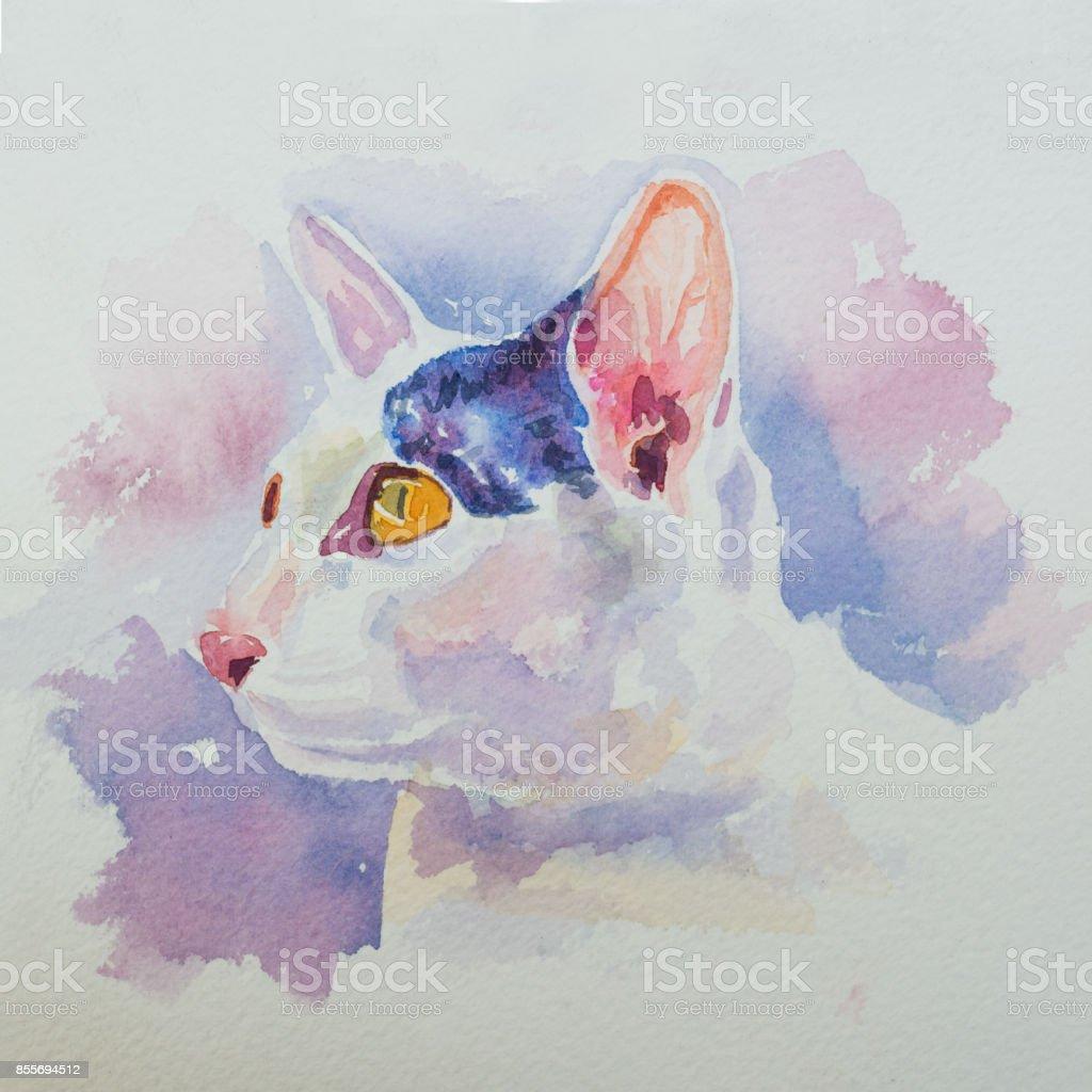 Handgemaltes Aquarell Porträt der entzückende weiße Katze – Foto