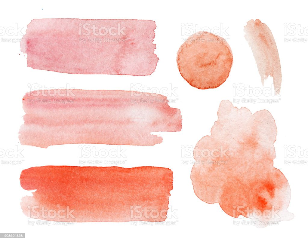 Aquarelle peinte de main rouge taches et gouttes ensemble sur fond blanc - Photo