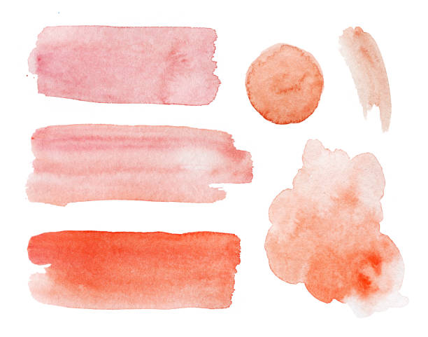 Hand painted watercolor red stains and drops set on white background - foto stock