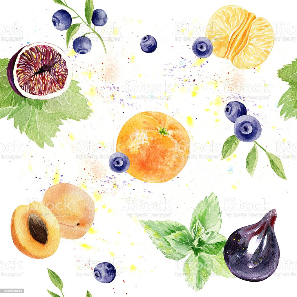 hand painted watercolor seamless pattern with fruits and berries stock photo