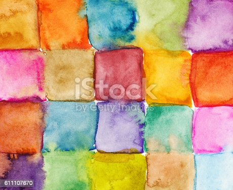istock Hand painted watercolor squares in a rainbow of colors 611107670