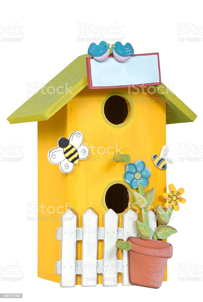 Hand Painted Wooden Craft Bird House royalty-free stock photo
