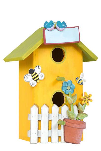 Hand Painted Wooden Craft Bird House stok fotoğrafı