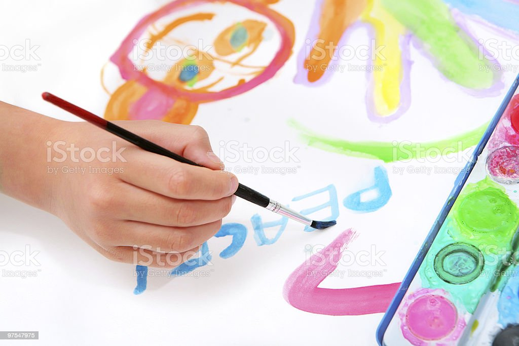 hand painting and writing word peace royalty-free stock photo