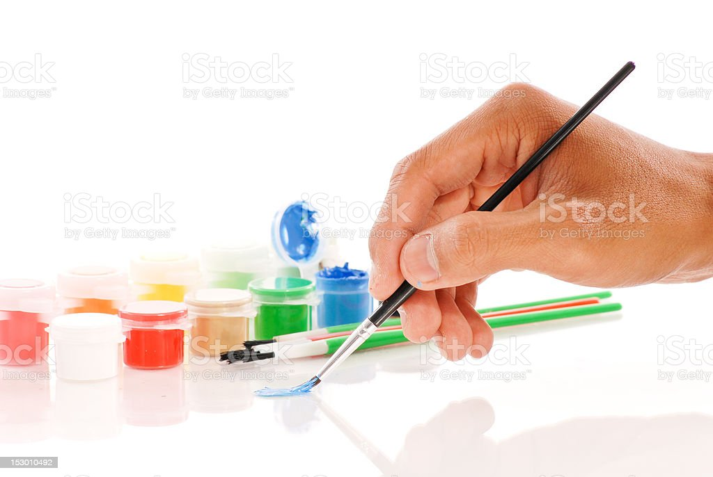 Hand Painting with Blue royalty-free stock photo