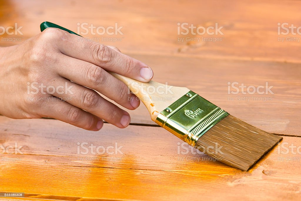 hand painting wood boards stock photo