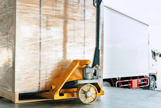 hand pallet truck or pallet jack with shipment product on pallet. truck docking load cargo in warehouse. - pallet foto e immagini stock