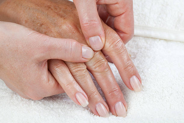 Hand palm massage, peeling or moisturizing procedure stock photo