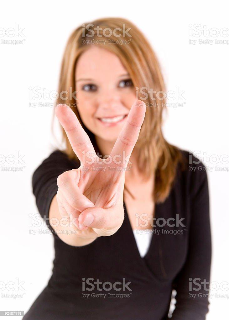 Hand peace royalty-free stock photo