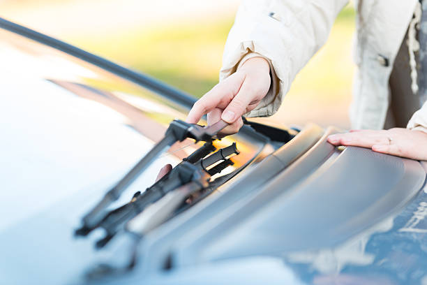 Hand picking up windscreen wiper Woman's hand picking up windscreen wiper windshield wiper stock pictures, royalty-free photos & images
