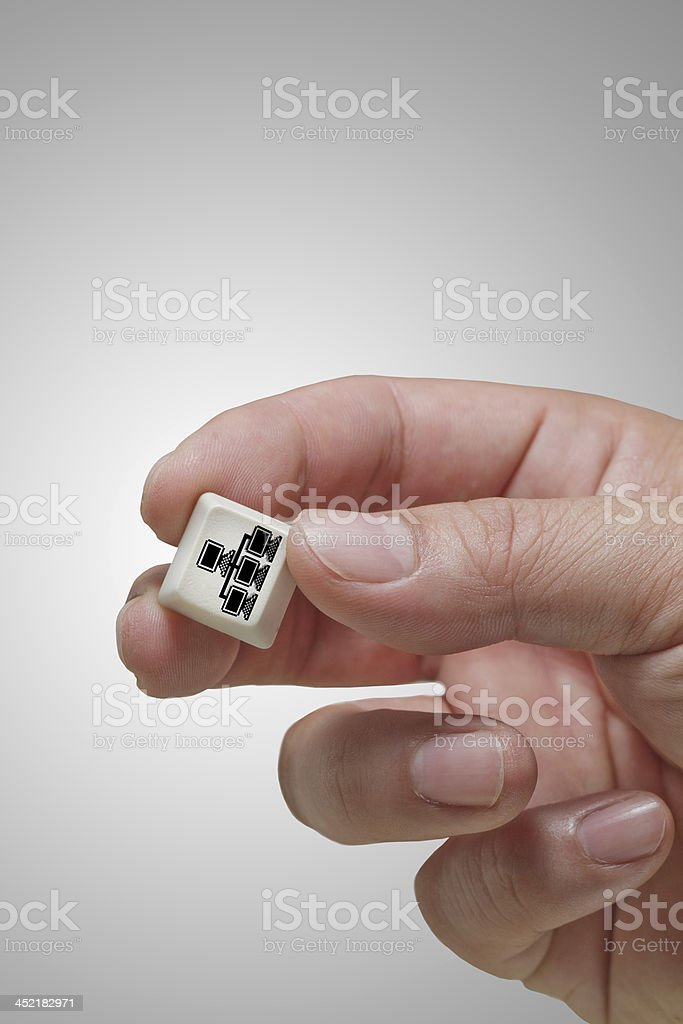 hand picks pixel 3d cloud network sign royalty-free stock photo
