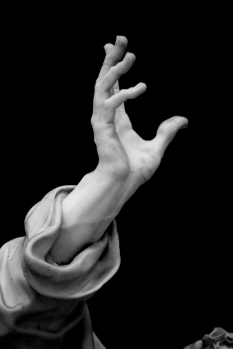 Detail of the Statue of Saint Peter, one of the sculptures of the Twelve Apostles inside the Basilica of St. John Lateran. Rome, Italy. Sculpture by Pierre-Étienne Monnot (1657, Orchamps-Vennes - 1733, Roma),