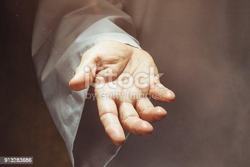 Man showing open hand
