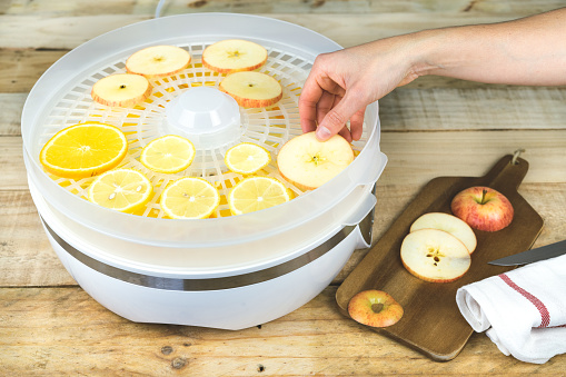Hand placing fruit slices in food dehydrator. Canned food.