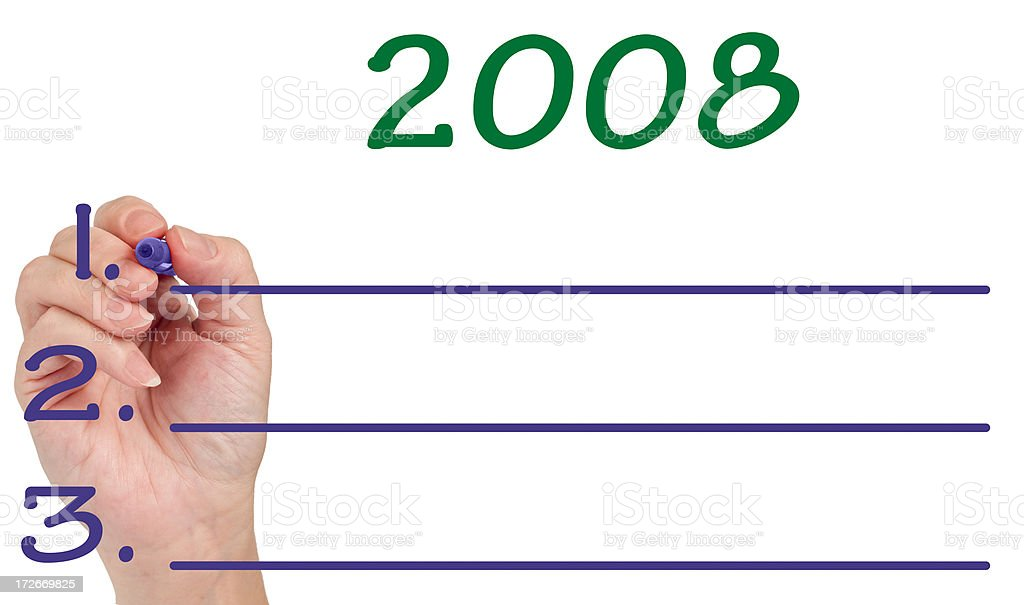 Hand Planning 2008 Goals on Whiteboard royalty-free stock photo