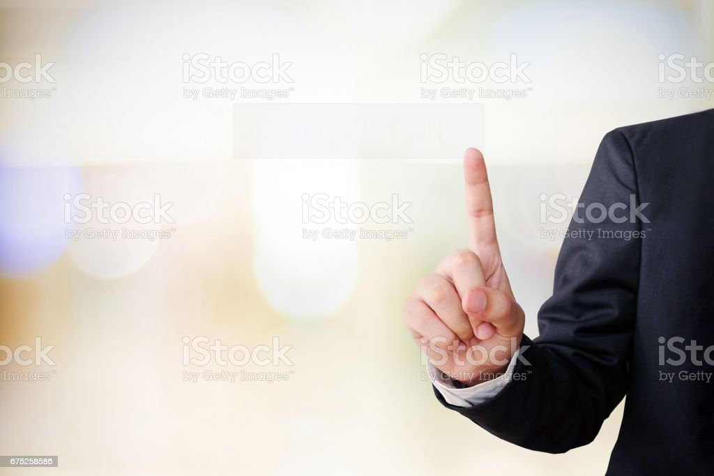 Hand point gesture on blur office background with copy space, business concept stock photo
