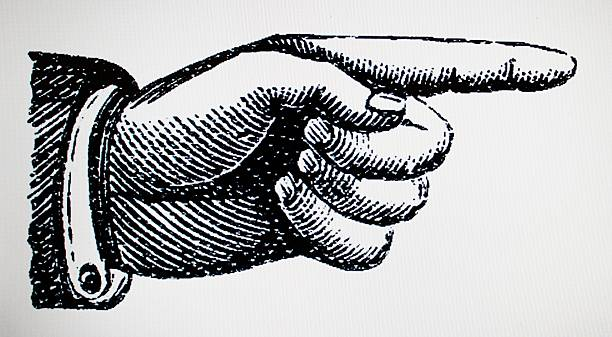 hand point right victorian style - woodcut stock photos and pictures