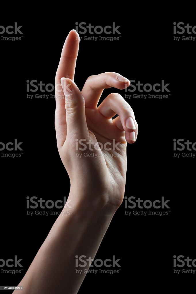 hand pointing a finger stock photo