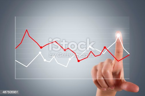 istock Hand Pointing and Touching Graph Chart 487505931