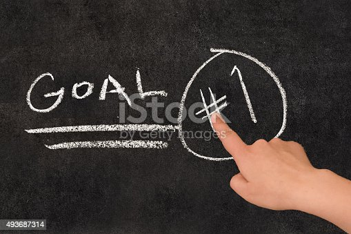 istock Hand pointing at blackboard text