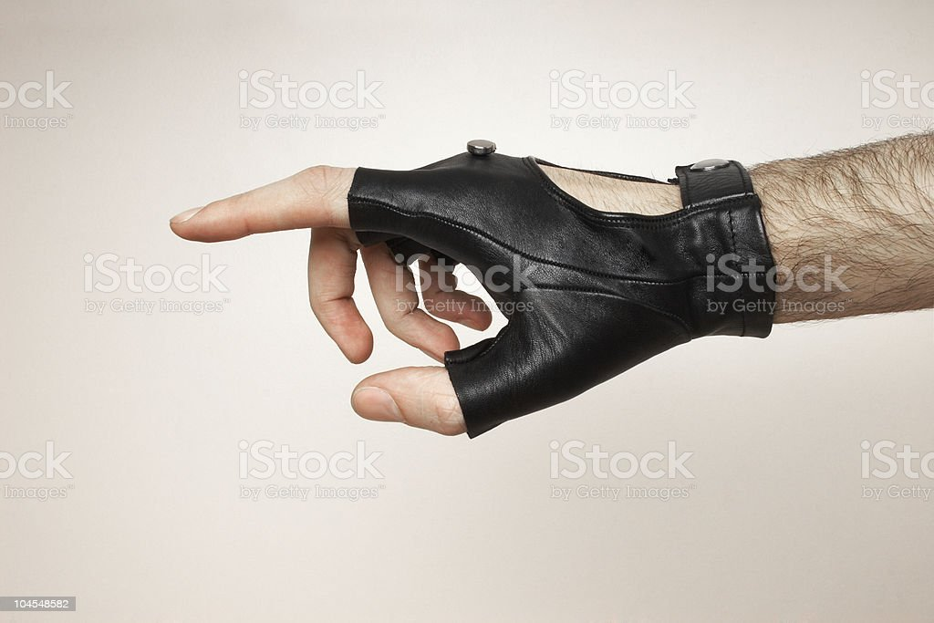 hand pointing at stock photo