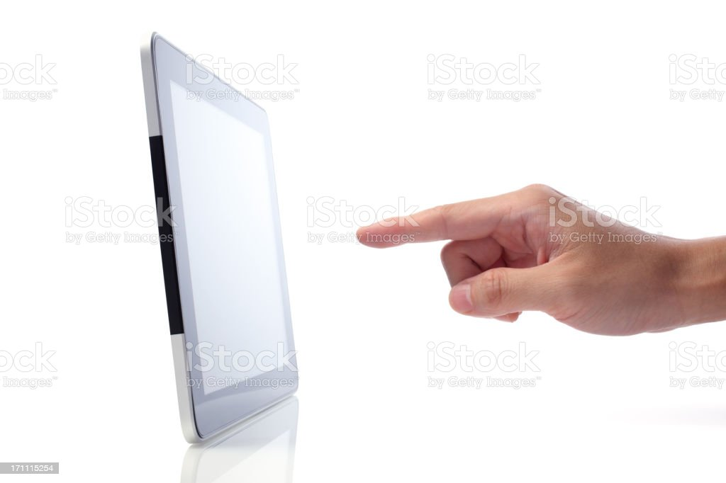 Hand Pointing at Touch Screen Tablet stock photo