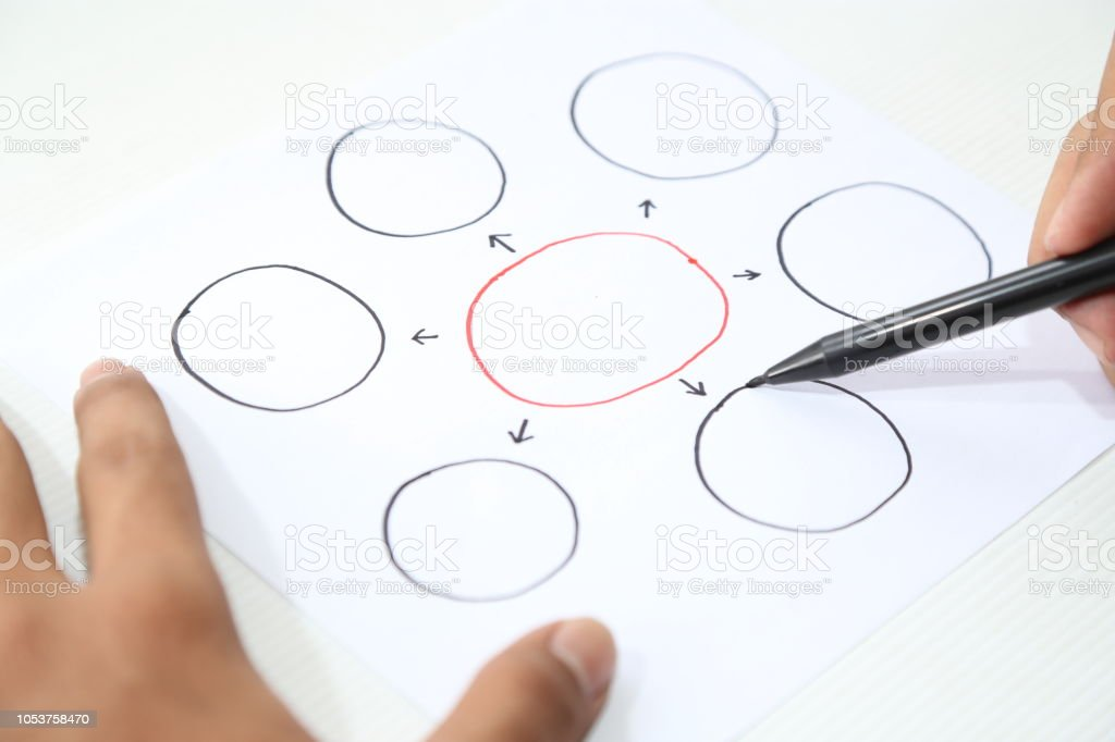hand pointing business bubble concept stock photo