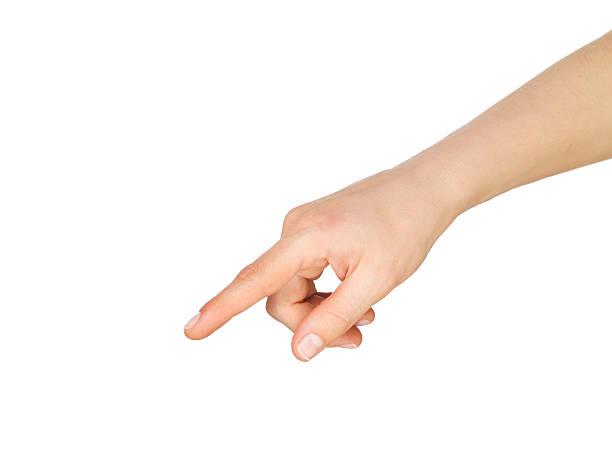 指を指す手ダウン - 押す ストックフォトと画像