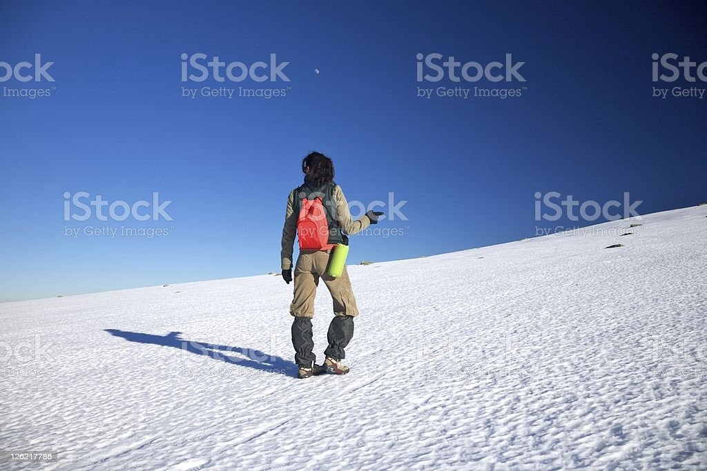 hand pointing hiking woman stock photo