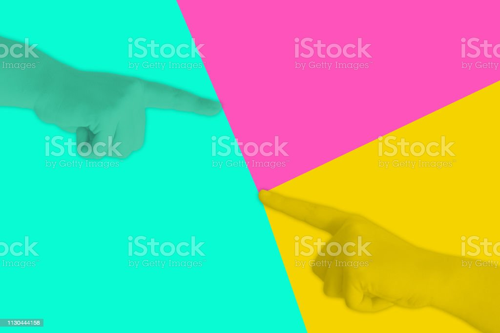 Hand pointing, minimal concept neon colors, flat background.