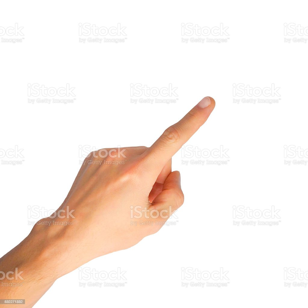 Hand pointing on white background stock photo