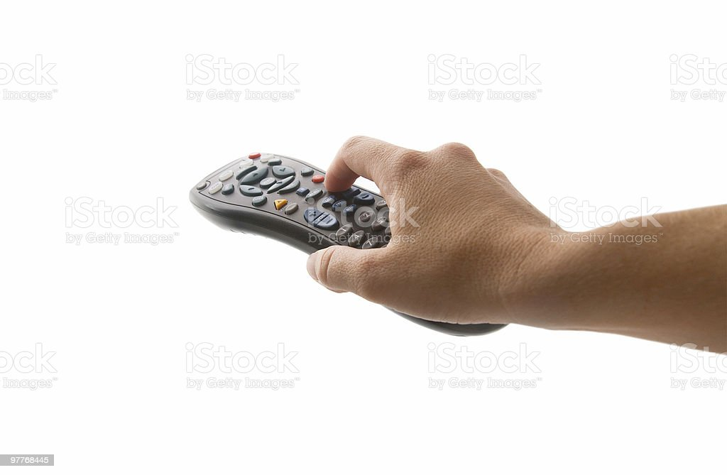 Hand Pointing Remote stock photo
