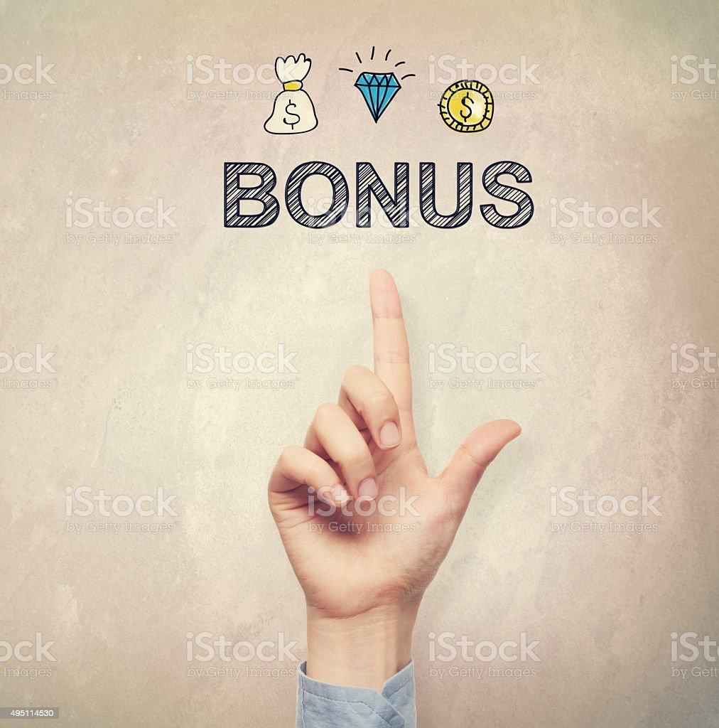 Hand pointing to Bonus concept stock photo