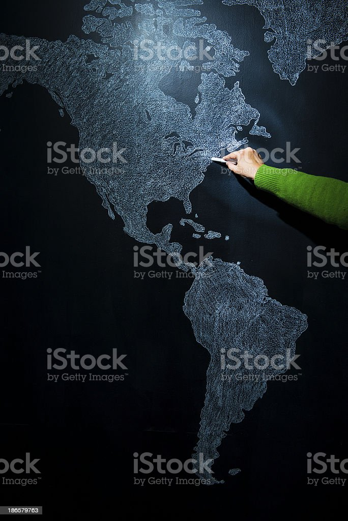 Hand pointing to New York, USA royalty-free stock photo