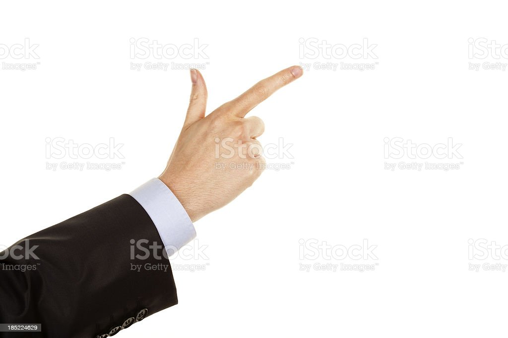 Hand pointing with index finger stock photo