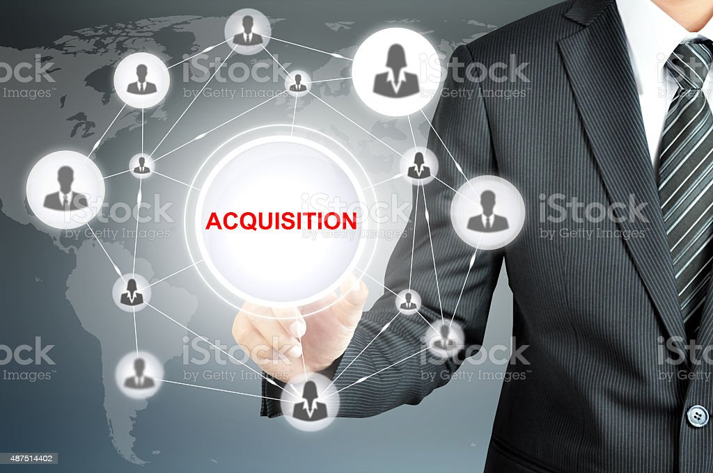 Hand pointingon ACQUISITION sign  with businesspeople icon stock photo