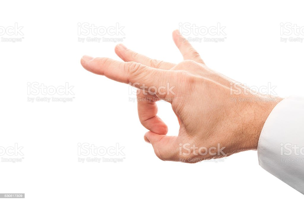 Hand preparing flick with his index finger isolated on white stock photo